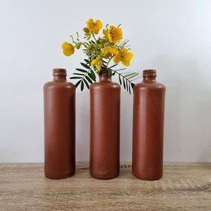 Vintage Stoneware Bottle Vases Brown Boho Rustic